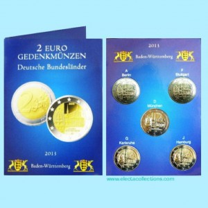 Germany – 2 Euro, Maulbronn monastery, Baden-Wurttemberg, 2013 - 5 coins A,D,F,G,J