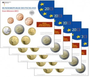 Germany - Euro coins, Official BU Set 2013 (5 Sets: Letters A,D,F,G,J)