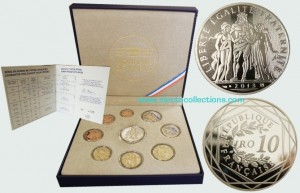 France - Euro coins, Official Proof Set 2013 + 10 Euro silver coin
