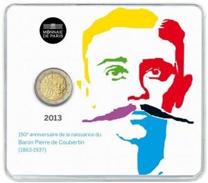 France - 2 Euro BU, Pierre de Coubertin, 2013