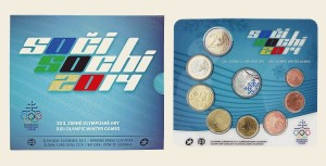 Slovakia - Euro Coins, Official BU Set, XXII Olympic Winter Games Sochi, 2014