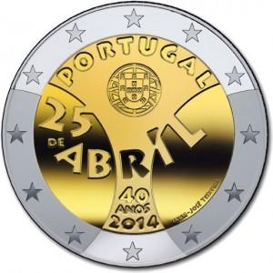 Portugal – 2 Euro, 40. Jahrestag Nelkenrevolution, 2014