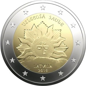 Latvia 2 Euro 2019, rising sun