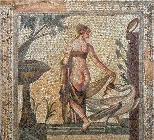 . This coin depicts Leda and the swan, an outstanding mosaic dating to the 2nd century A.D., which decorated the floor of a Roman house found at Palaipafos.