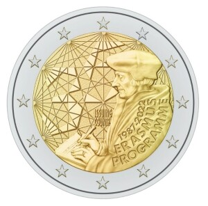 New common 2 euro commemorative coin of 2022, dedicated to the 35th anniversary of the Erasmus programme